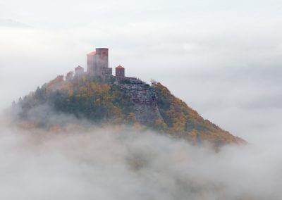 Die Burg Trifels bei Annweiler im Nebelmeer