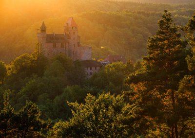 Letzte Sonnenstrahlen auf der Burg Berwartstein in Erlenbach bei Dahn