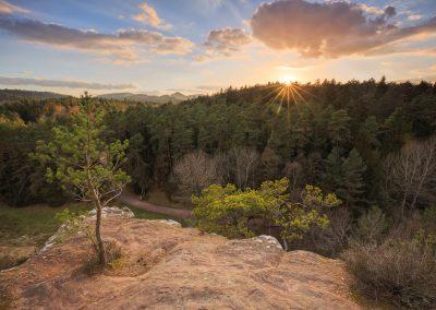 Sonnenuntergang am Elwetrischenfelsen im Dahnerfelsenland