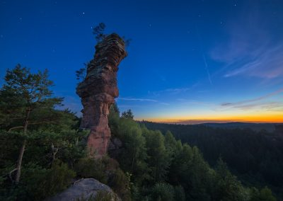Sonnenuntergang am Lämmerfels im Dahnerfelsenland