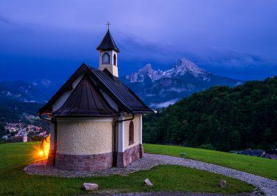 Kapelle der Seligpreisungen Blick auf den Watzmann